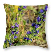 Blue Weed Throw Pillow