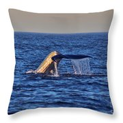 Blue Whales Tail Throw Pillow