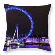 Blue Wheel Throw Pillow