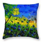 Blue Wild Flowers Throw Pillow