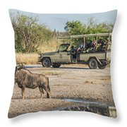 Blue Wildebeest Beside Puddle With Jeep Behind Throw Pillow