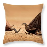 Blue Wildebeest Sparring With Red Hartebeest Throw Pillow
