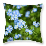Blue Wildflowers Forget Me Nots Throw Pillow