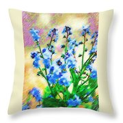 Blue Wildflowers Throw Pillow