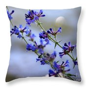 Blue Wildflowers Over Rimrock Lake Throw Pillow