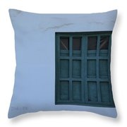 Blue Window In A Wall Throw Pillow