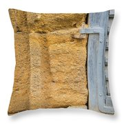 Blue Window On A Grungy Yellow Wall Throw Pillow