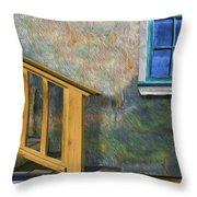 Blue Window Sill Throw Pillow