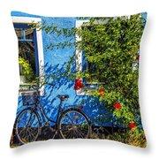 Blue Window With Bike Throw Pillow