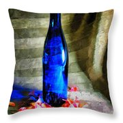 Blue Wine Bottle Throw Pillow