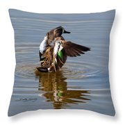 Blue Winged Teal 4 Throw Pillow