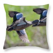 Blue-winged Teal In Flight 3 Throw Pillow