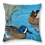 Blue-winged Teals Throw Pillow