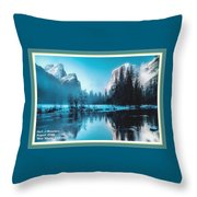 Blue Winter Fantasy. L A With Decorative Ornate Printed Frame. Throw Pillow