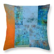 Blue With Orange 2.0 Throw Pillow