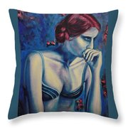 Blue Woman Thinking Throw Pillow
