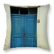 Blue Wood Door In A Building Throw Pillow