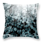 Blue  Wood Throw Pillow