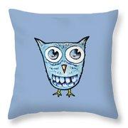 Blue Woot Owl Throw Pillow