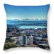 Blue Zurich Throw Pillow