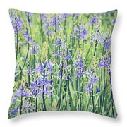 Bluebell Bluebells Flowers Blooming In Spring Throw Pillow