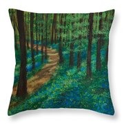 Bluebell Forest Throw Pillow