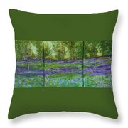 Bluebell Meadow Triptych Throw Pillow