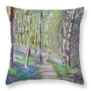 Bluebell Walk At Llanilar Aberystwyth Throw Pillow