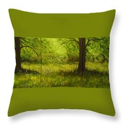 Bluebell Wood In Spring Triptych  Throw Pillow