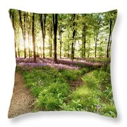 Bluebell Woods With Birds Flocking  Throw Pillow