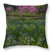 Bluebells And Redbuds Throw Pillow