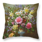 Bluebells Daffodils Primroses And Peonies In A Blue Vase Throw Pillow