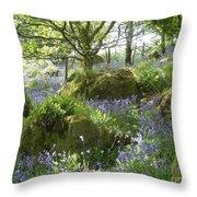 Bluebells On Dartmoor Throw Pillow