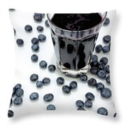 Blueberries And Blueberry Juice Throw Pillow