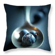 Blueberries Macro Still Life Throw Pillow