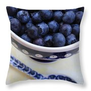 Blueberries With Spoon Throw Pillow