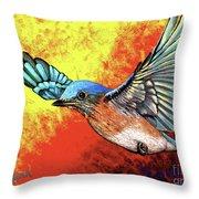Bluebird In Flight Throw Pillow