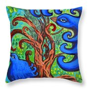 Bluebird In Tree Throw Pillow
