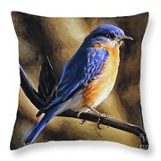 Bluebird Portrait Throw Pillow