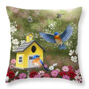 Bluebirds And Yellow Birdhouse Throw Pillow by Crista Forest