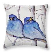 Bluebirds Throw Pillow