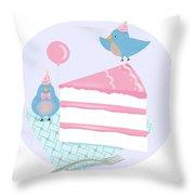 Bluebirds Love Birthday Cake Throw Pillow