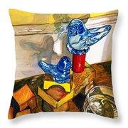 Bluebirds Of Happiness Throw Pillow