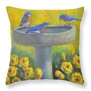 Bluebirds On Birdbath Throw Pillow