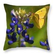 Bluebonnet And Butterfly Throw Pillow