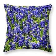 Bluebonnet Blues Throw Pillow