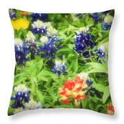 Bluebonnet Bouquet Throw Pillow