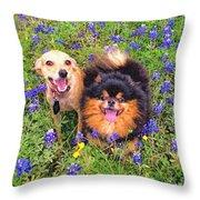 Bluebonnet Buddies Throw Pillow