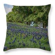 Bluebonnet Field Throw Pillow