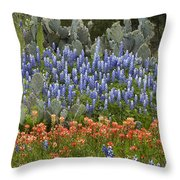 Bluebonnet Paintbrush And Prickly Pear Throw Pillow